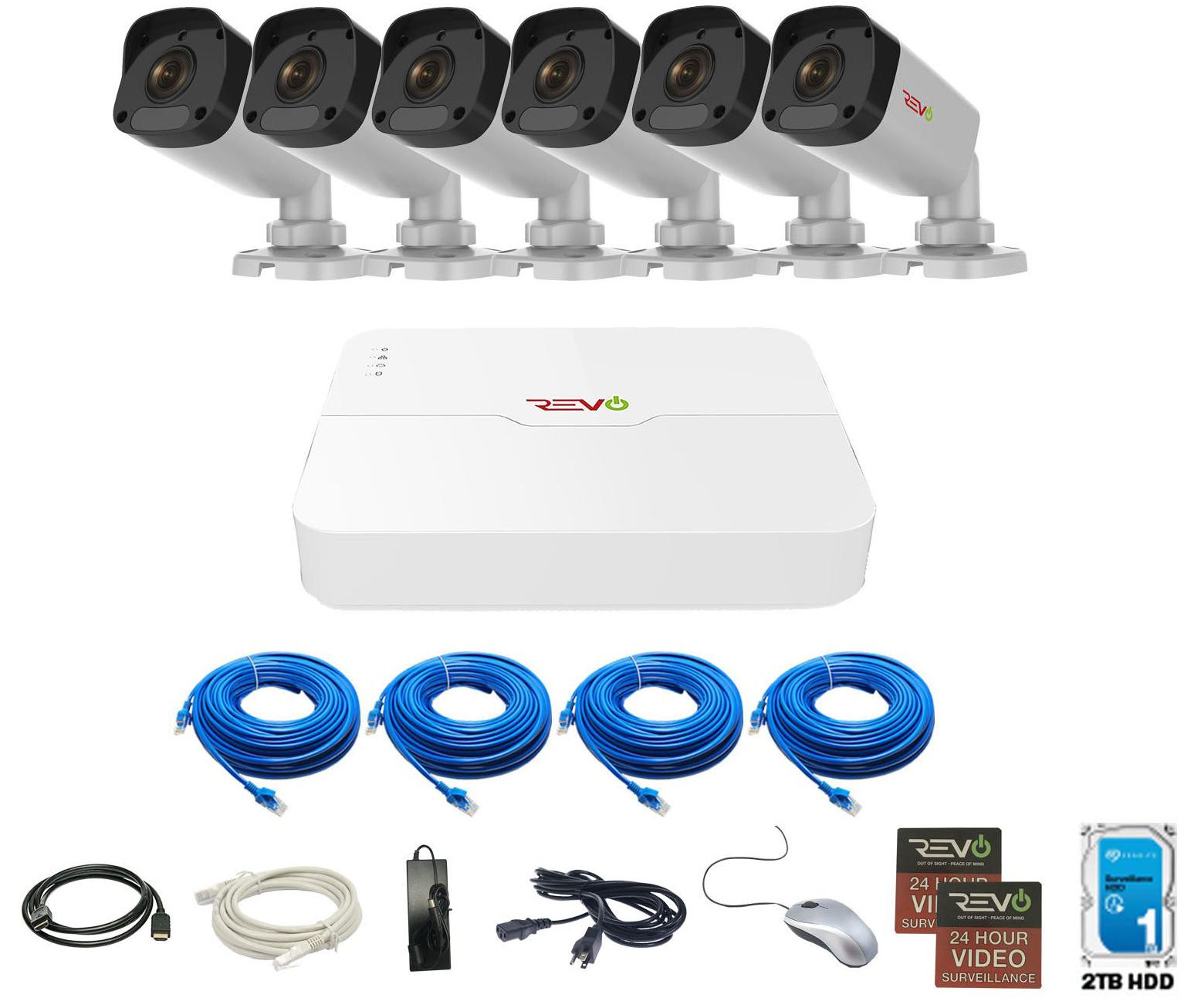 REVO ULTRA 8CH IP Video Surveillance System, 8 CH 4K NVR, 2TB HDD, 6x 4 Megapixel Indoor/Outdoor IR Bullet Cameras - Remote Access via Smart Phone, Tablet, PC & MAC
