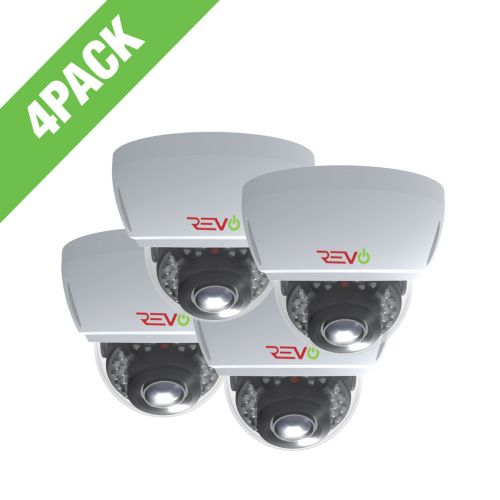 REVO Aero 5 Megapixel Vari-focal lens Indoor/Outdoor IR Vandal Dome Camera with 60 Siamese Cable (Pack of 4)