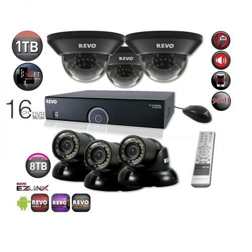 16 Channel Home Security System with 6 700TVL Night Vision Cameras