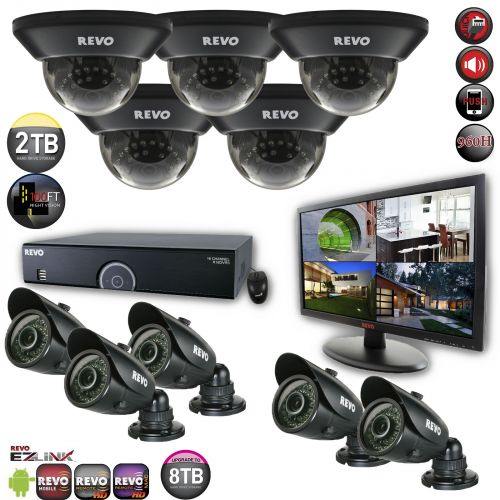 16 Channel Home Surveillance System with 10 Indoor/Outdoor Cameras