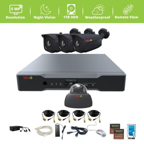 Aero HD 4 Ch. 1TB 5MP Video Surveillance System with 4 Indoor/Outdoor Cameras