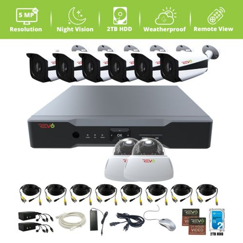 Aero HD 8 Ch. Video Security System with 8 Indoor/Outdoor 5 Megapixel Cameras