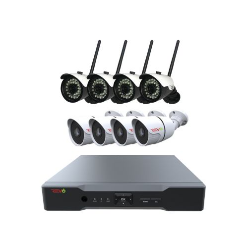 REVO Aero 16CH Full-HD DVR system, 2TB with 4x 720p Wireless Bullet Cameras and 4x 1080p Wired Bullet Cameras