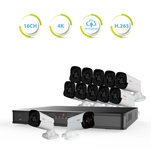 Ultra HD 16 Ch. 4TB NVR Surveillance System with 12 4 Megapixel Cameras