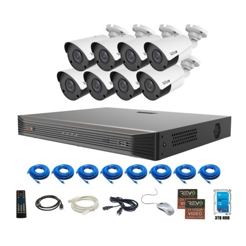 Revo 16 Channel 3TB HDD True 4K SMART NVR HD Security System with 8x 4K HD Indoor/Outdoor Cameras