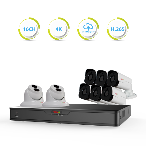 Ultra HD 16 Ch. 3TB NVR IP Security Camera System with 8 4MP Security Cameras