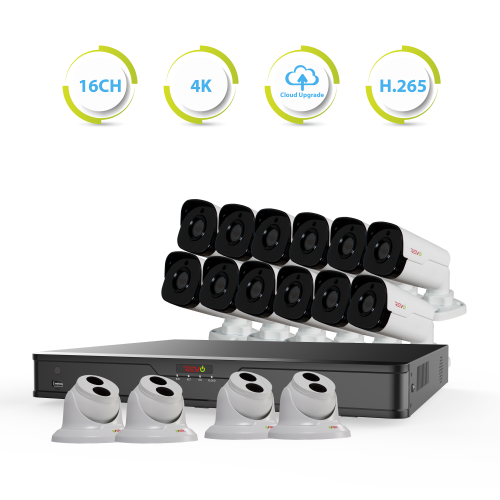 Ultra HD 16 Ch. 4TB NVR Best Security System with 16 4MP Security Cameras