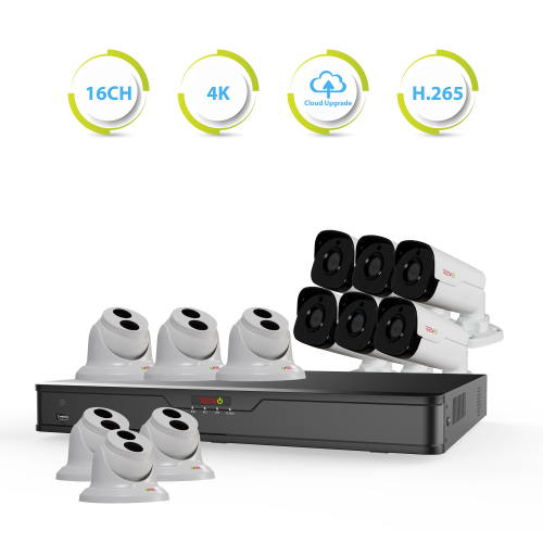 Ultra HD 16 Ch. 4TB NVR Surveillance System with 12 4 Megapixel IP Cameras
