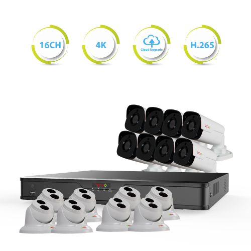 Ultra HD 16 Ch. 4TB NVR Best Surveillance System with 16 Outdoor Security Cameras