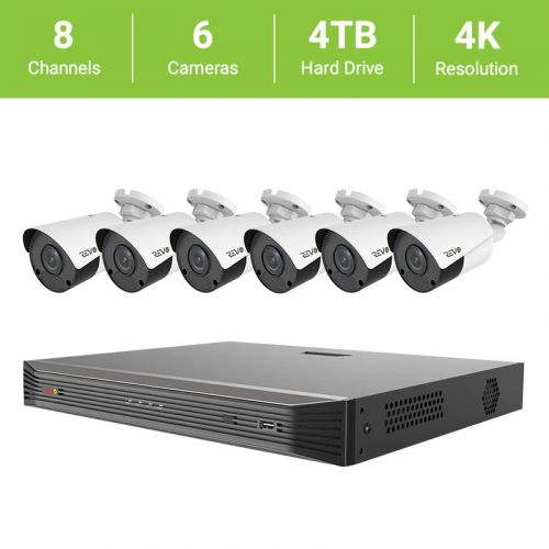 Revo 8-Channel True 4K SMART NVR HD Surveillance System with 4TB HDD and 6 x 4K HD Bullet Cameras