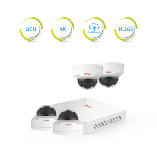 Ultra HD 8 Ch. 2TB NVR Surveillance System with 4 4MP Mini Vandal Dome Cameras