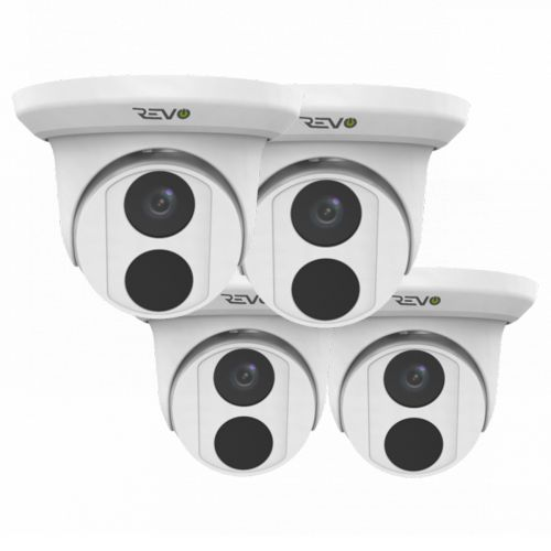 REVO ULTRA 4K(8 Megapixel) Indoor/Outdoor Fixed Lens Turret Camera w/ 100' CAT5e Cable (Pack of 4)