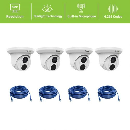 REVO ULTRA 5MP Starlight Indoor/Outdoor Fixed Lens Turret Camera w/ 100' CAT5e Cable (Pack of 4)
