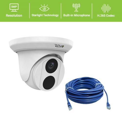 REVO ULTRA 5MP Starlight Indoor/Outdoor Fixed Lens Turret Camera w/ 100' CAT5e Cable
