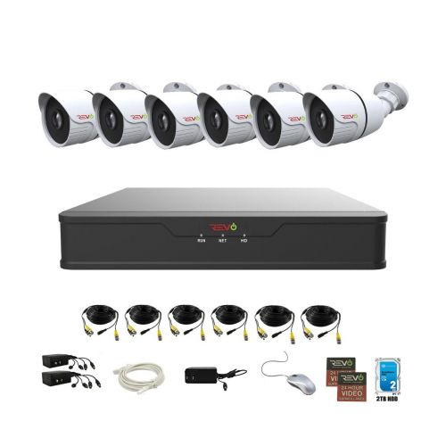 REVO Hybrid 8CH DVR, 2TB and 6x 1080p Indoor/Outdoor IR Bullet Cameras