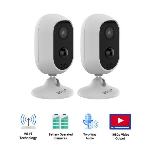 REVO Stand-Alone Wireless Battery Operated Full-HD 1080p Camera with Two-Way Audio & PIR Sensor, 32GB Micro SD Card (Pack of 2)
