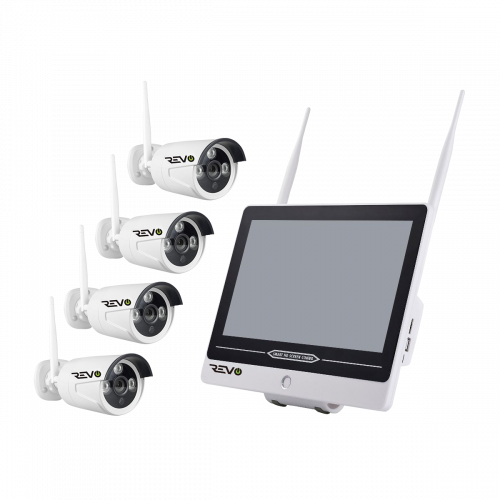 REVO Wireless 12'' Combo unit with built-in 4CH Wireless NVR, 1TB & 4x 1080p Indoor/Outdoor Wireless Bullet Cameras